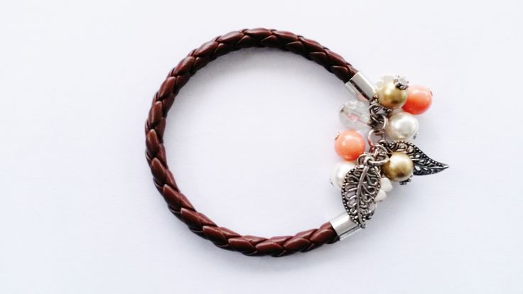 leather brown bracelet with beads and charms!top selling!