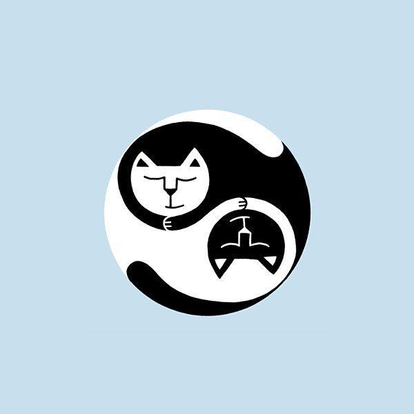 CAT ILLUSTRATION Yin yang cats 1/2 Designed by RIKKES BIX #cat #cats#yinyang #illustration #catillustration #cutecat #drawing #kitty #catdrawing #catsagram #catdesign