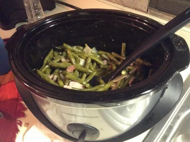 *Crock Pot Green Beans and Bacon* I used 4 slices bacon to 2 1/2 pounds beans. I also used frozen beans. I left the garlic out as I didn't really want that flavor and I used 1 tsp. of salt to the 2 1/2 pounds of beans. I could have probably even cut down to 3/4 tsp. Turned out very good.
