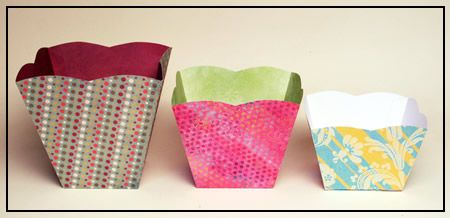 Popcorn boxes in 3 sizes made using a popcorn box template and ...