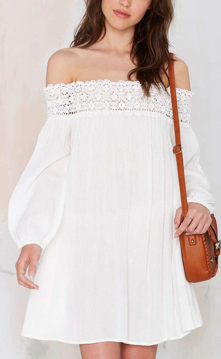 Off shoulder crochet dress