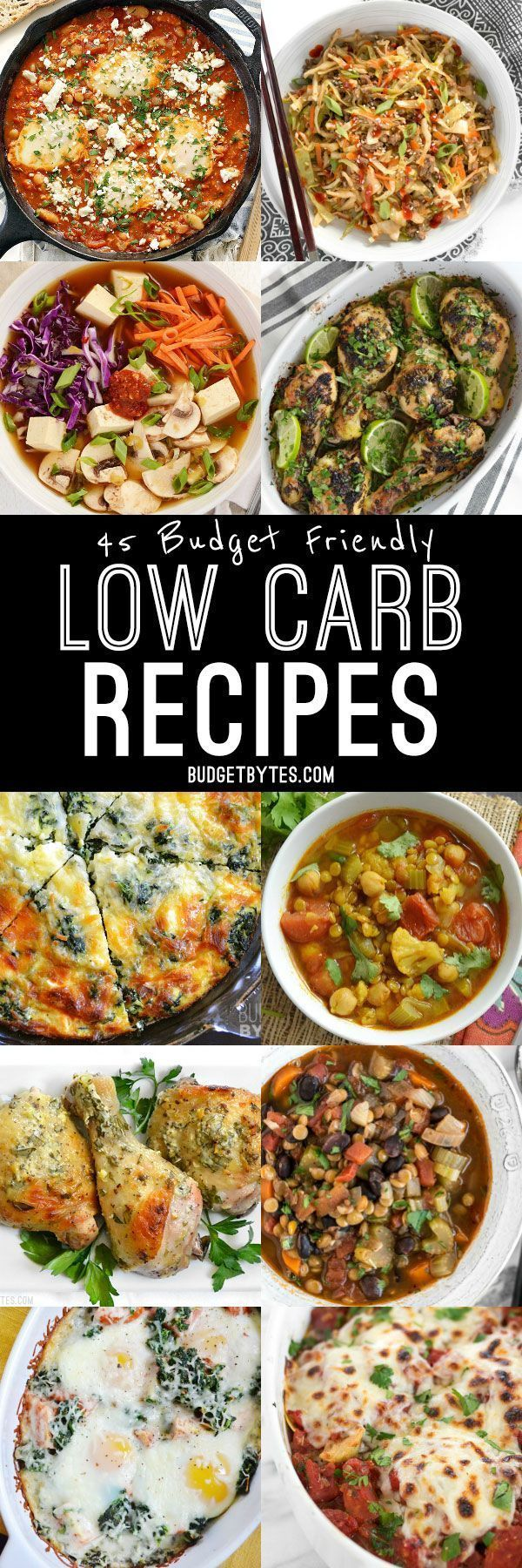 There's no pasta, rice, or potatoes in these 45 Budget Friendly Low Carb Recipes that will leave you happy, healthy, and full. @Budget Bytes | Delicious Recipes for Small Budgets