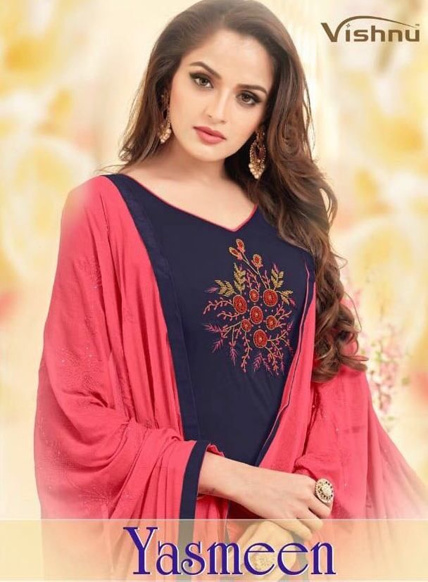 578f031c2b Vishnu Prints Yasmeen Designer Long Slub Cotton with Embroidery Work Dress  Material Collection at Wholesale Rate