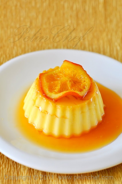 A pretty look for orange creme caramel. (In Turkish)
