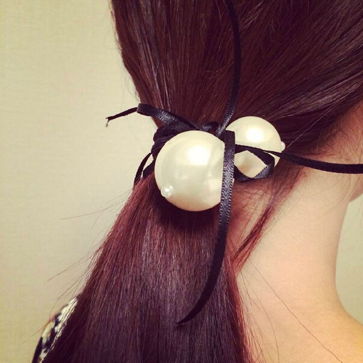 2 pcs Women White Double Pearl Satin Ribbon Bow Hair Band Rope Ponytail Holder Stretch 6 Color New