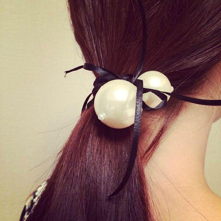 2 stücke Frauen Weißen Doppel Perle Satinband Bogen Haarband Seil Pferdeschwanz Inhaber Stretch 6 Farbe Neue