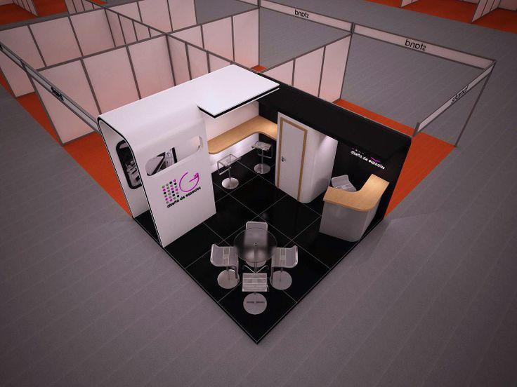 Proyecto de stand abierto con zona de atención rápida y personalizada, mostrador y  almacén
