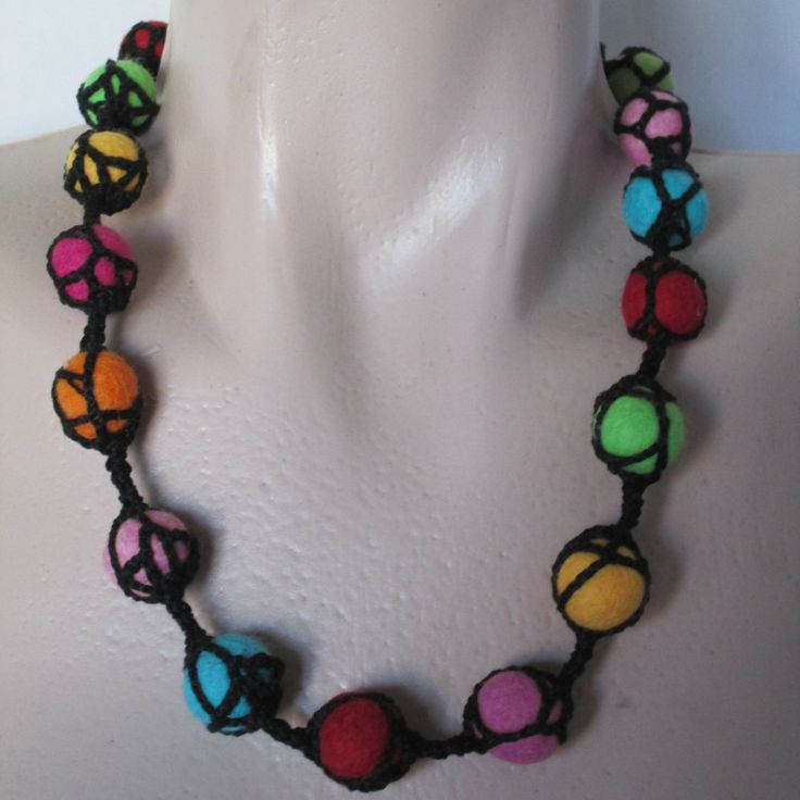 Felt beads necklace, Chunky Fabric Necklace,Multicolour necklace,Necklace,Felt Jewellery ,Felted Necklace by AgathaBee on Etsy