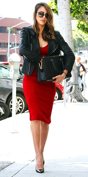 Red dress with leather jacket!! Love!