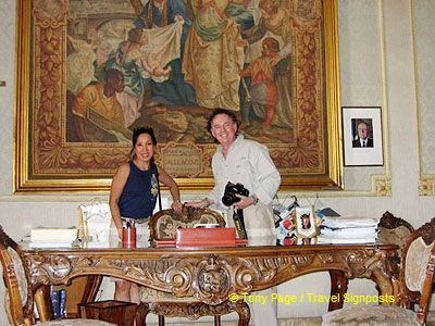 Fans of Inspector Montalbano will recognize this room as the office of Montalbano's dreaded boss. Yes, that's us at the Commissario's desk.