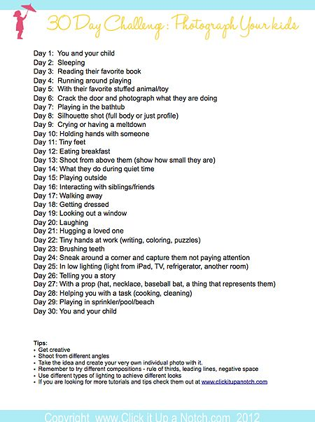 30 day challenge 'Photograph your kids' going to do this one next month :)