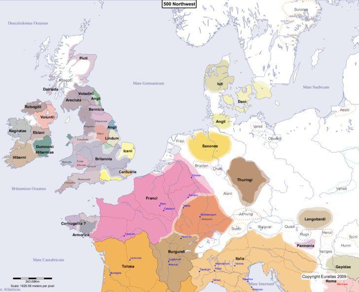 Map showing Europe 500 Northwest