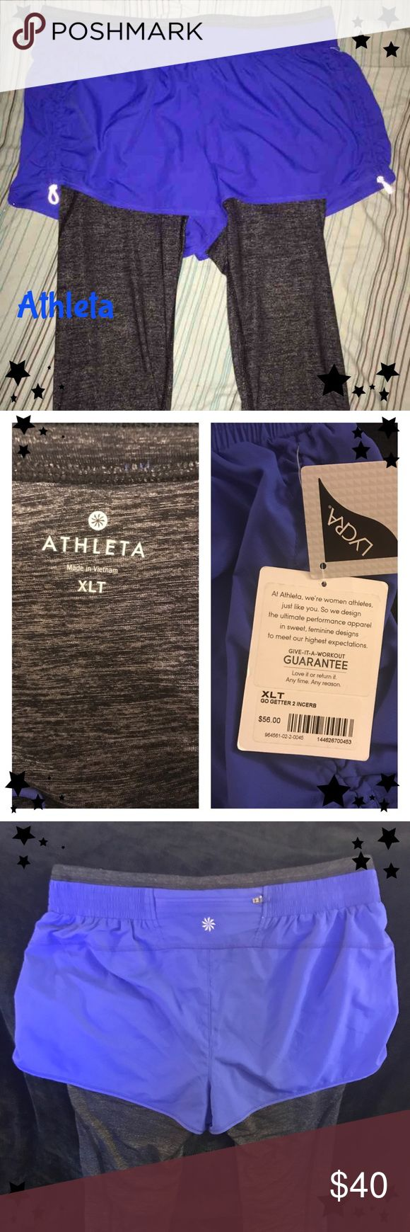 Athleta Go Getter shorts and leggings Athleta Go Getter beautiful blue shorts with charcoal leggings. Size XL but these run small. These are new with tags. I have to reposh because they were too small. These would fit a large better. Athleta Pants Track Pants & Joggers