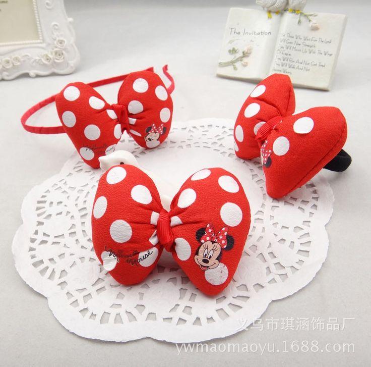 Mickey Minnie Arco Hairbands Bambini Coreani Clip di Capelli Accessori Per Capelli Polka Dot Fascia Dei Capelli di Gomma Scrunchy Copricapo Perla Incastonata-f