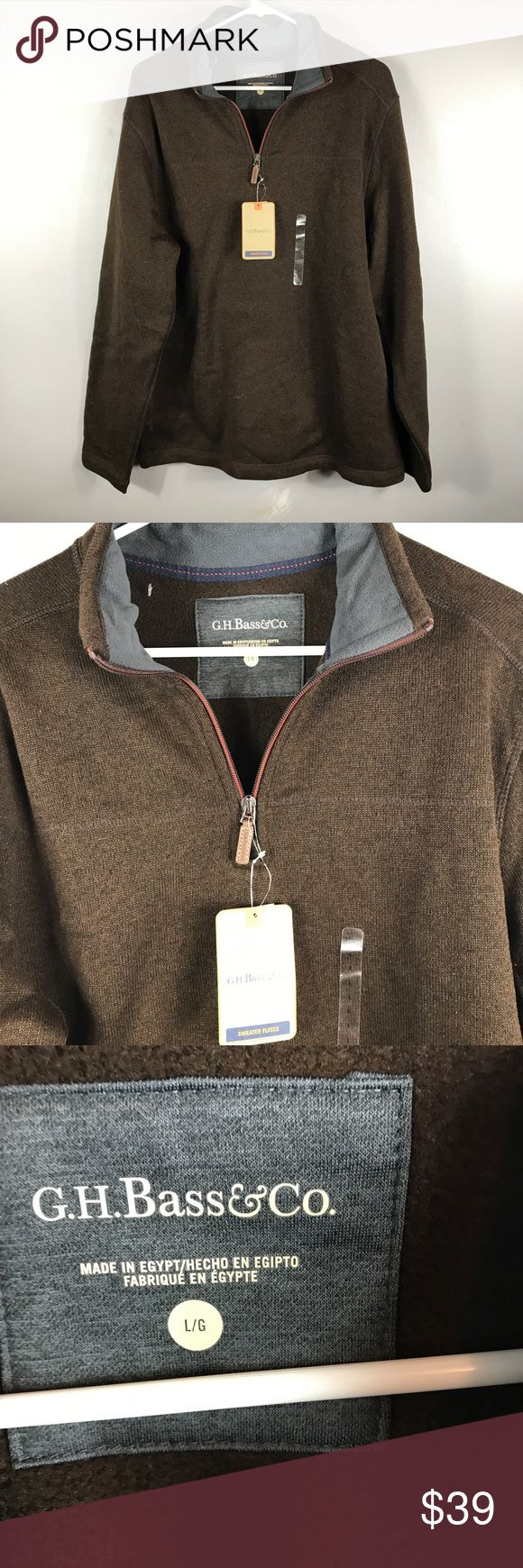 """NWT Men's GH Bass & co XL sweater Brand new with the tag Half zip sweater top Size XL for men's 100% polyester  Measurements chest 23"""" Length 30 1/2"""" Bass Sweaters Zip Up"""