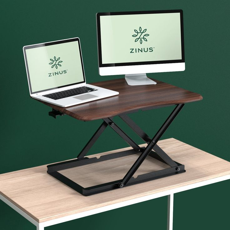 Zinus Smart Adjust Standing Desk / Height Adjustable Desktop Workstation, Espresso