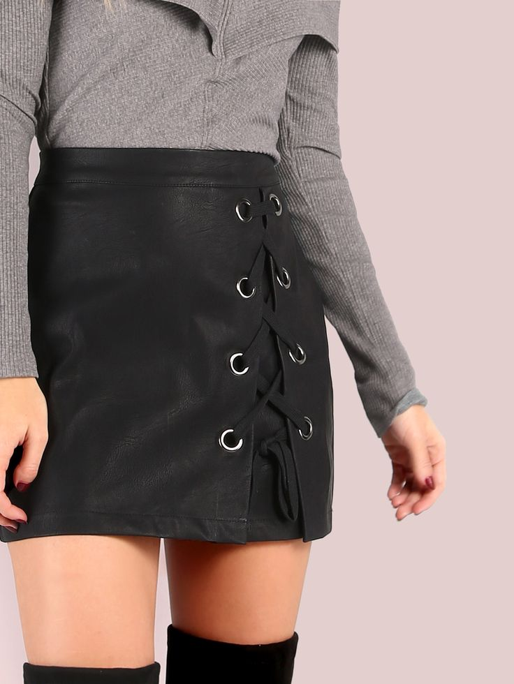 Faux Leather Laced Eyelet Mini Skirt BLACK -SheIn(Sheinside)