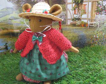 Miss Apple mooie handgemaakte wol voelde storybook muis met kersen rood vest