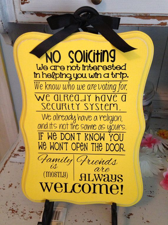 No Soliciting Sign - Customizable - painted wood with vinyl on Etsy, $16.00