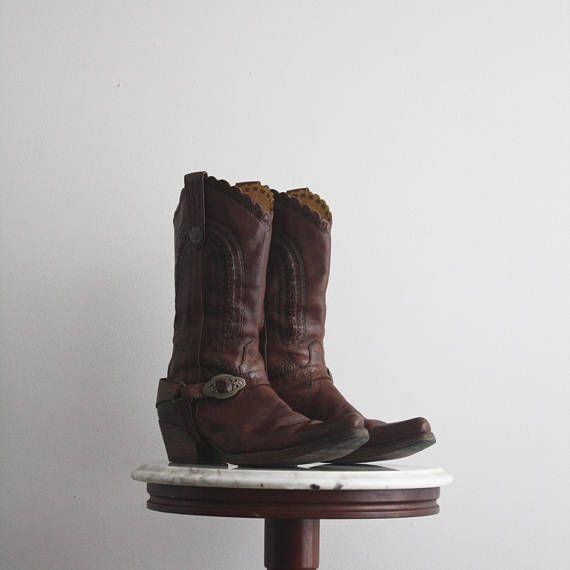 Cowboy Boots 8 Women's Brown Leather Detailed Buckle 1980s from  fiiimac  on etsy.ca