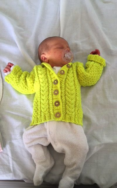 Neon cabled baby jacket hand knit, manos del Uruguay maxima in highlighter