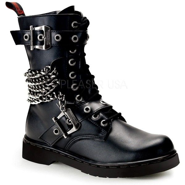 Demonia Defiant 204 Black Leather Look Lace Up Calf Boots with Chains ($145) ❤ liked on Polyvore featuring shoes, boots, black shoes, vegan boots, goth boots, vegan leather boots and laced up boots