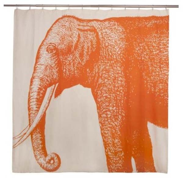 orange elephant shower curtain