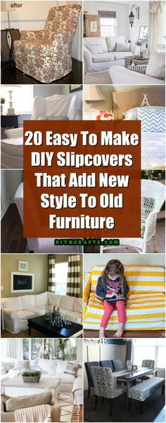 20 Easy To Make DIY Slipcovers That Add New Style To Old Furniture via @vanessacrafting