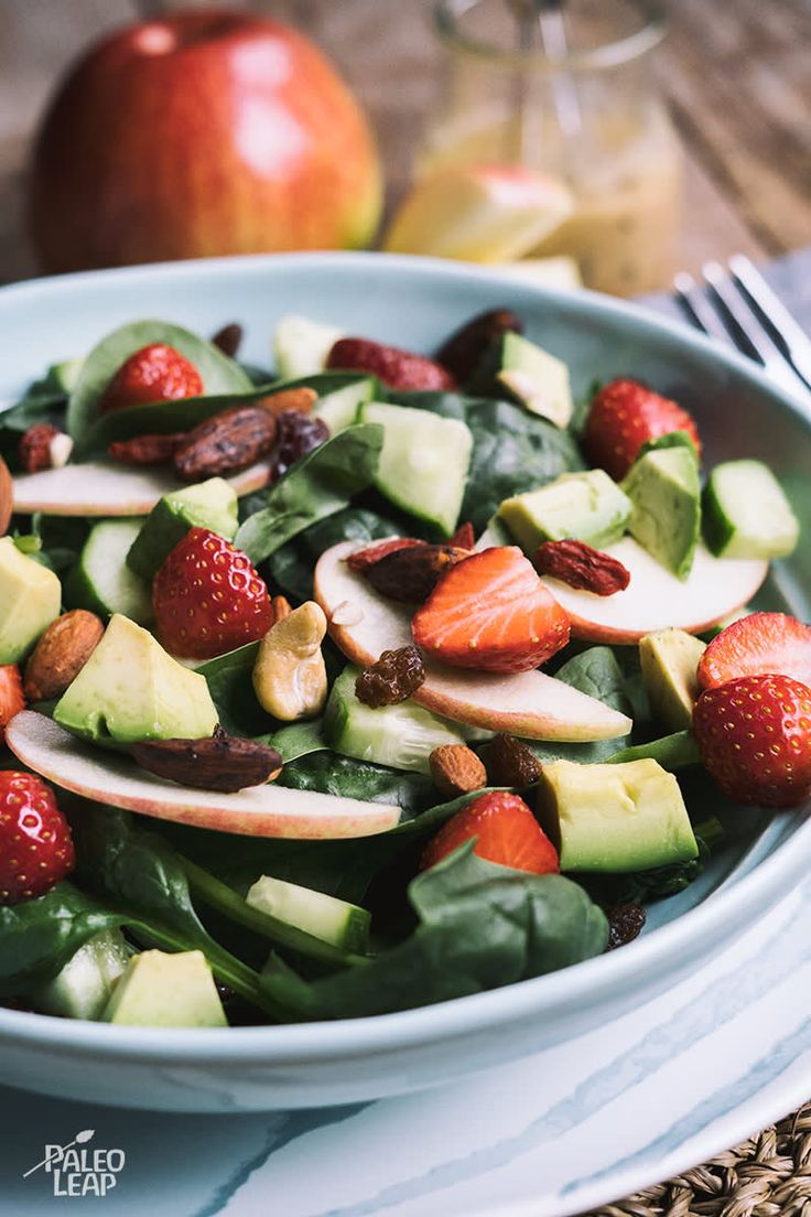 Strawberry, Apple, And Avocado Salad #paleo