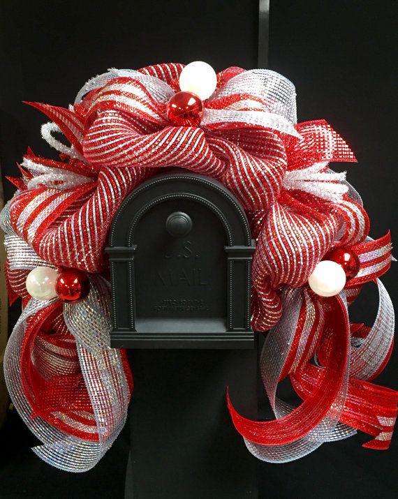 Red Silver Mailbox Garland Mailbox Decor Mailbox by wreathsbyrobin