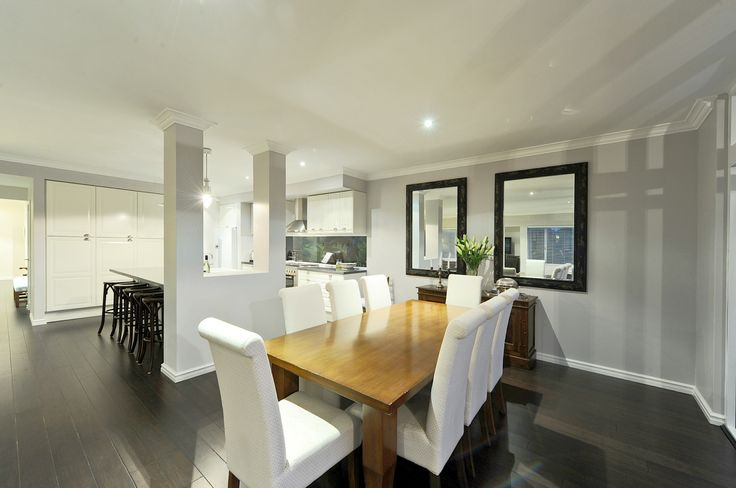 Hampton Style Homes Dining Room. ( we love the mirrors) by the team at nhbb.com.au