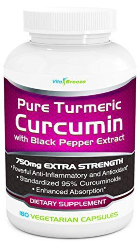 Product review for Turmeric Curcumin Complex with Black Pepper Extract - 750mg per Capsule, 180 Veg. Caps - Contains Piperine (For Superior Absorption and Tumeric Bio-availability) and 95% Standardized Curcuminoids For Maximum Potency  - START WITH THE MOST POTENT AND TRUSTED FORM OF CURCUMIN TODAY Curcumin is the active ingredient in Turmeric – an ancient spice high in manganese that has been used for centuries in Ayurvedic Medicine for a whole range of symptoms and