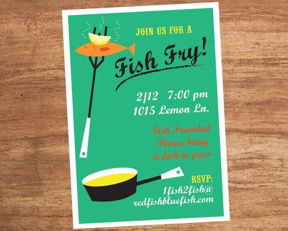 Fish Fry Dinner Party Custom Invitation by SBVintageAndDesign