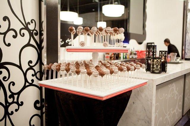 Black and white wedding cakepop tower