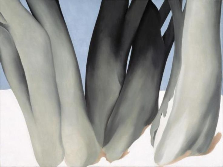 Cup Of Silver Ginger - Georgia O'Keeffe - WikiPaintings.org: Tree Trunks, Georgia O Keeffe, Snow, Okeeffe, Art, Trees