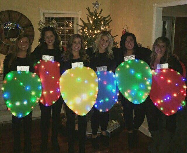 Christmas lights, Christmas costumes, group Christmas costumes, string of lights, Christmas Bulb, group costumes
