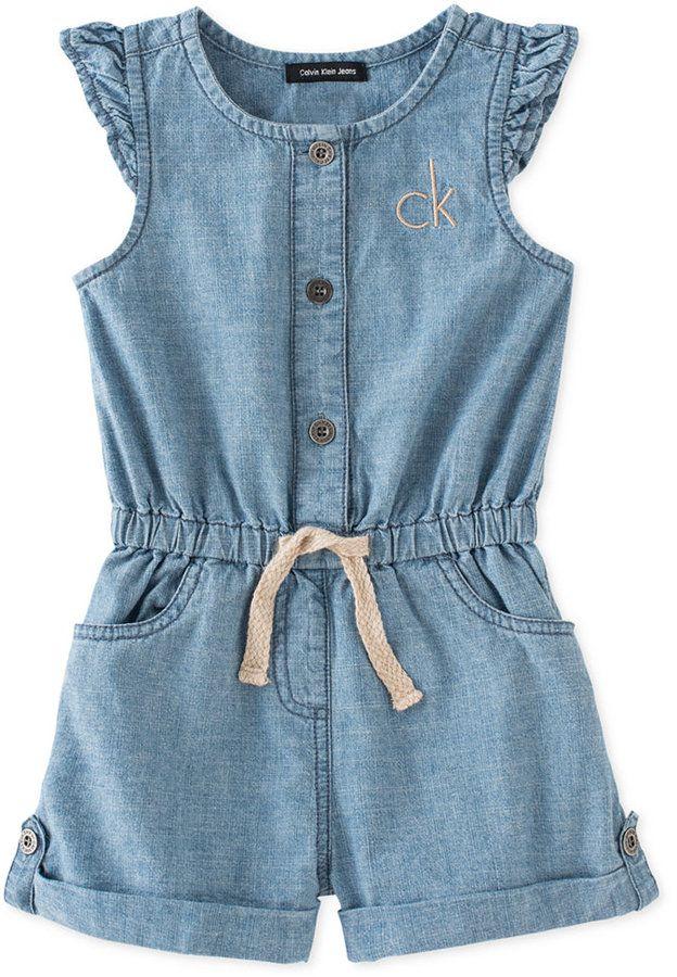 Calvin Klein Little Girls' Flutter-Sleeve Denim Romper