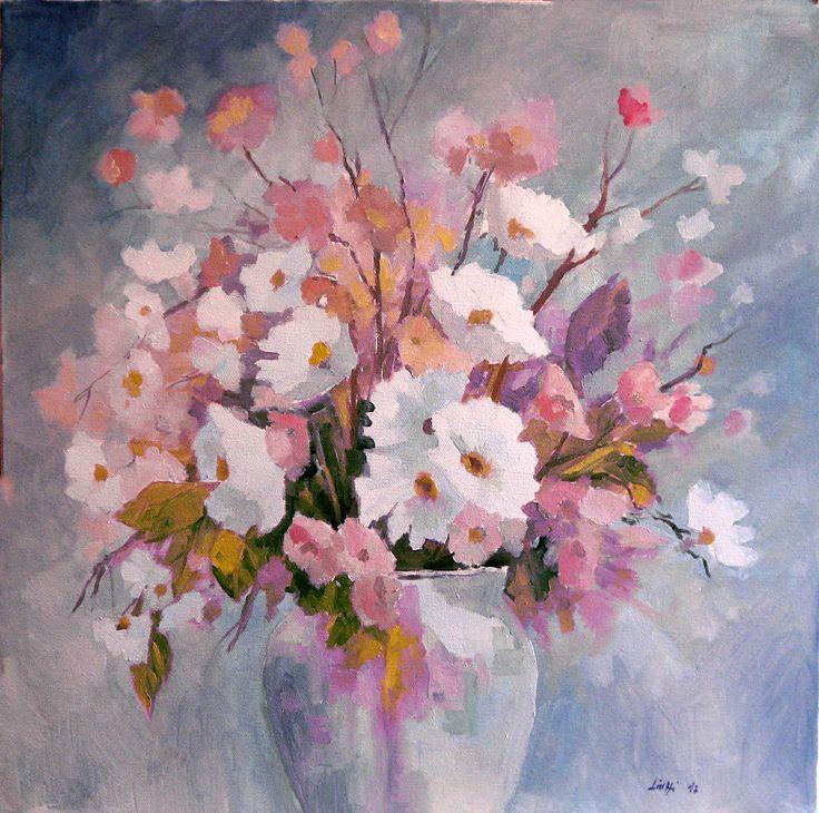vaso con fiori 50x50 olio su tela