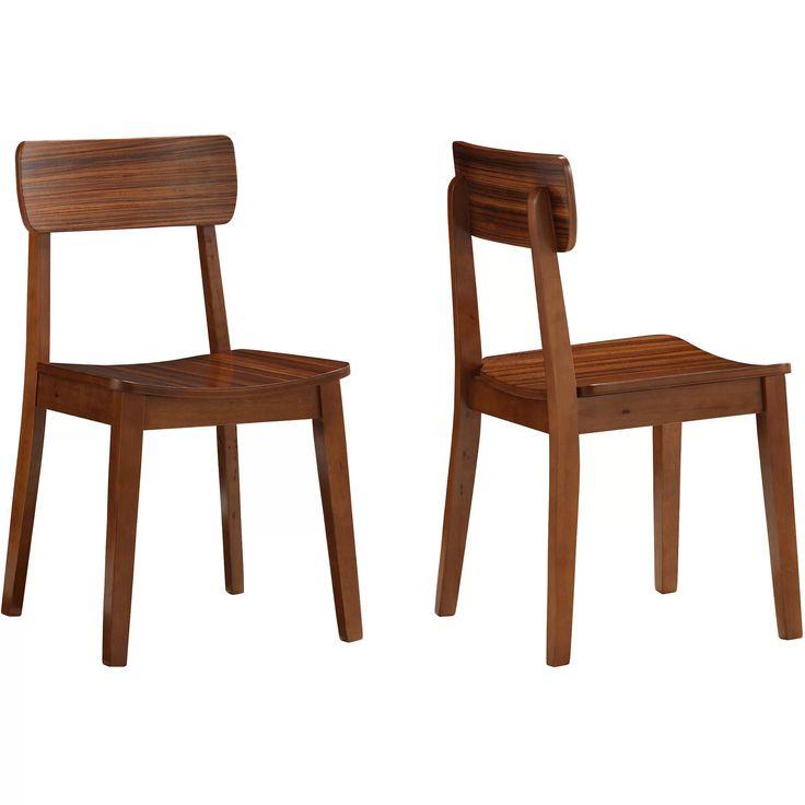 Boraam 33312 Zebra Series Hagen Dining Chairs, Set of 2, Walnut - Walmart.com