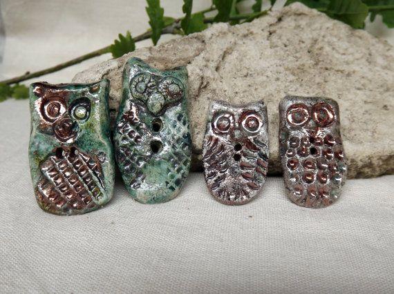 4 Ceramic buttons owl button raku by BlueBirdyDesign on Etsy, €20.00