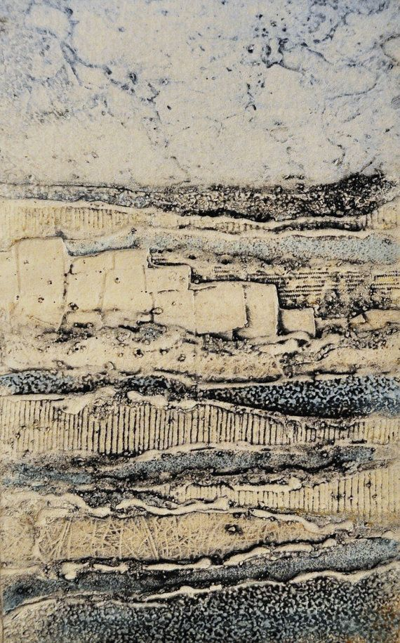 Layers Series No. 1    collagraph plate made from discarded wallpaper samples