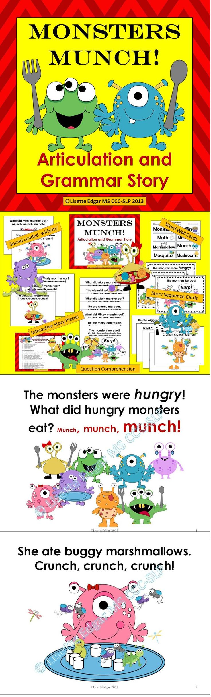 $ Monster fun abounds in this sound-loaded, interactive story. Features repetitive text, questions and prompts for grammar, articulation, wh questions and categorization. Great for Halloween, Autumn or anytime!