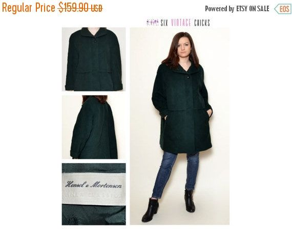New Years 30% off Vintage Green Coat/ 90's wool coat/ Classic Style, Cashmere Coat/ Vintage Woman's Outherwear/ Size M/38/ Free Shipping by SixVintageChicks on Etsy