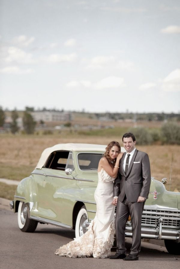 vintage car as getaway for couple...