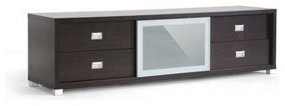 Baxton Studio Botticelli Brown Modern TV Stand with Frosted Glass Door - transitional - media storage - by Baxton Studio