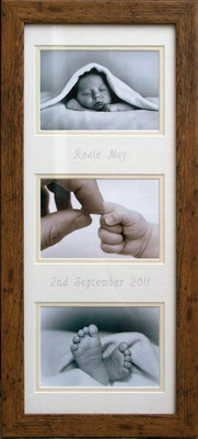 Love the personalised baby's name and birth date on a photo mount.