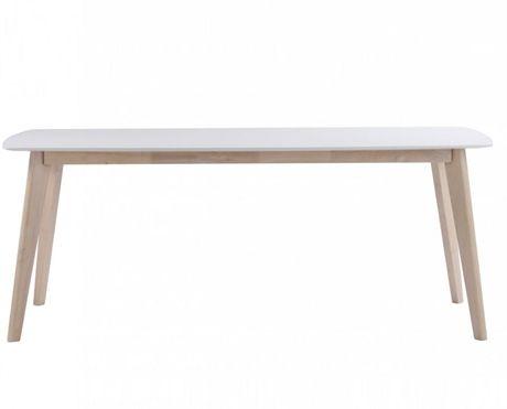 Sanna matbord, här i 190 cm från Rowico. Ett mycket snyggt och prisvärt matbord med vitlackad skiva och ben i whitewash eller helt vitlackad. Bordet finns i två storlekar 150 och 190 cm samt med iläggsskivor som tillval.