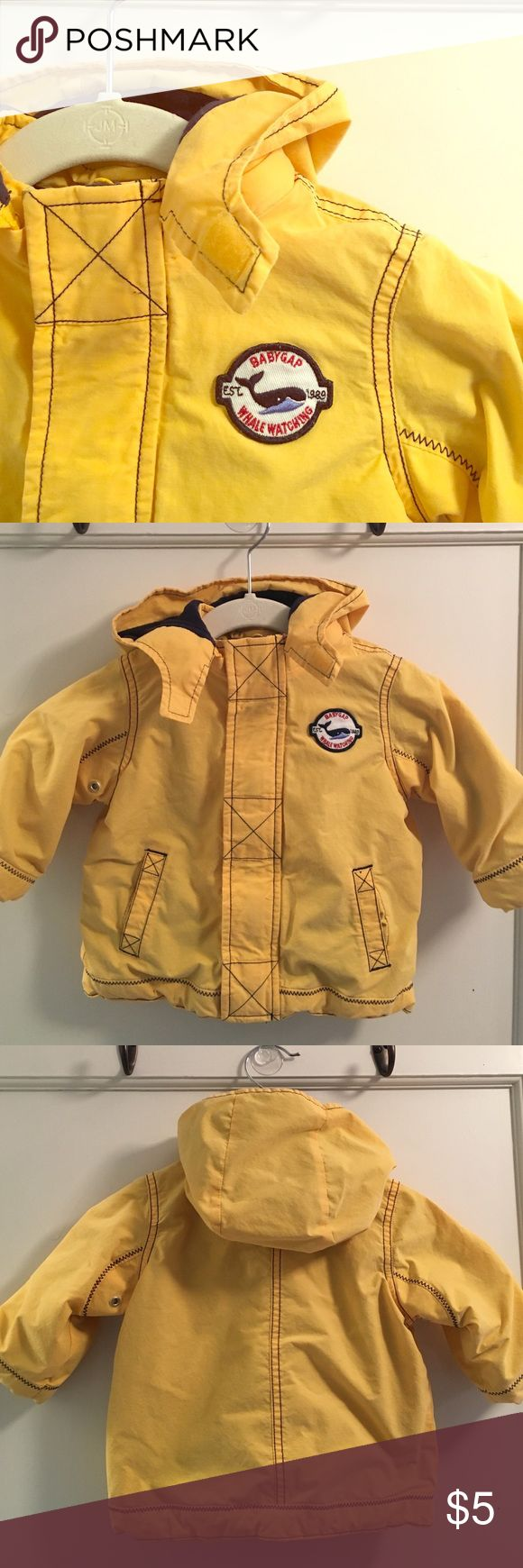 Boy's Gap jacket.  Size 6 to 12M Great condition, no spots or stains.  Washed and dried.  Lined.  It's not a winter jacket...but it's also not a light jacket.  It's great for the cooker days of fall and spring.  I bought this on consignment. Baby Gap Jackets & Coats