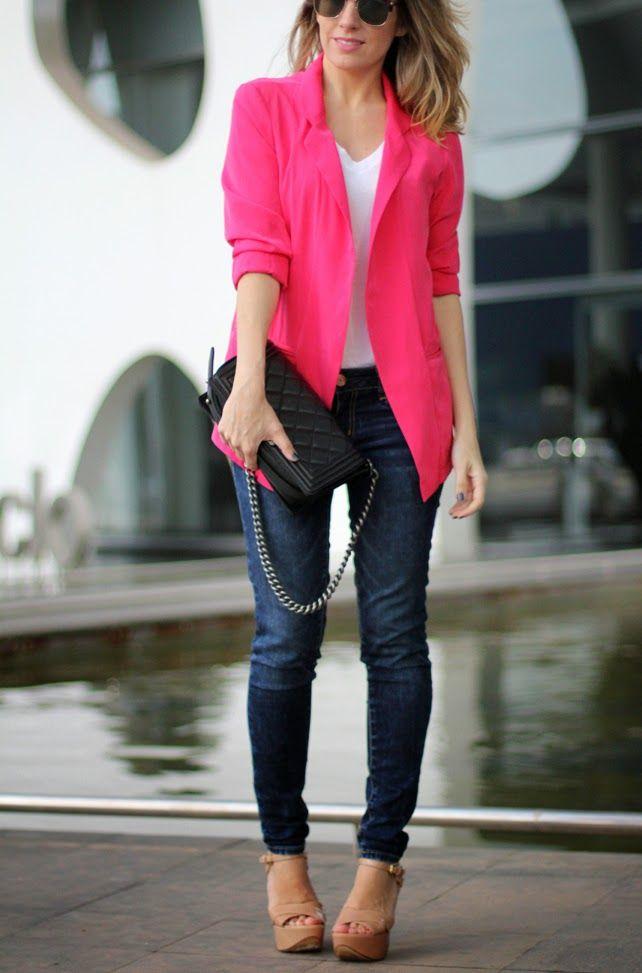 plain pink blazer outfit women 10
