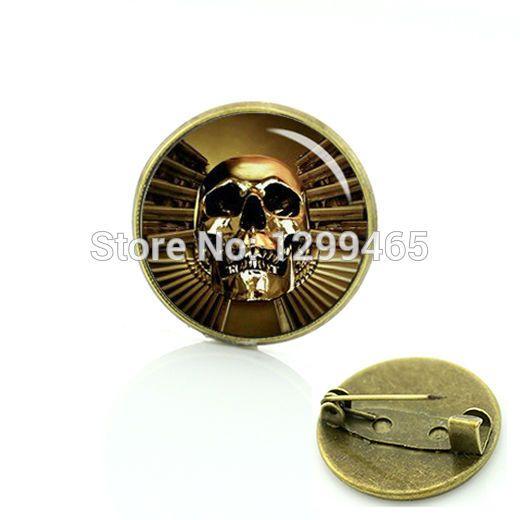 Новый элегантный дизайн готический оружейный и череп золотой череп творческий продвижения значка человеческого черепа пистолет pin день-оф-dead броши C 956